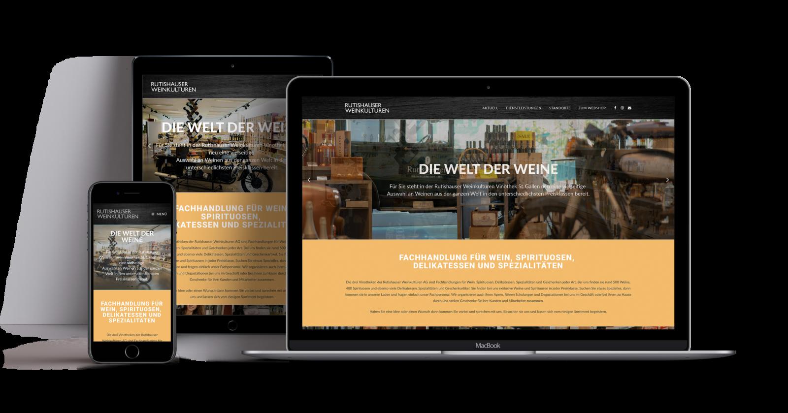 RUTISHAUSER WEINKULTUREN – Kommunikationsmassnahmen und Webseite für Vinothek St. Gallen