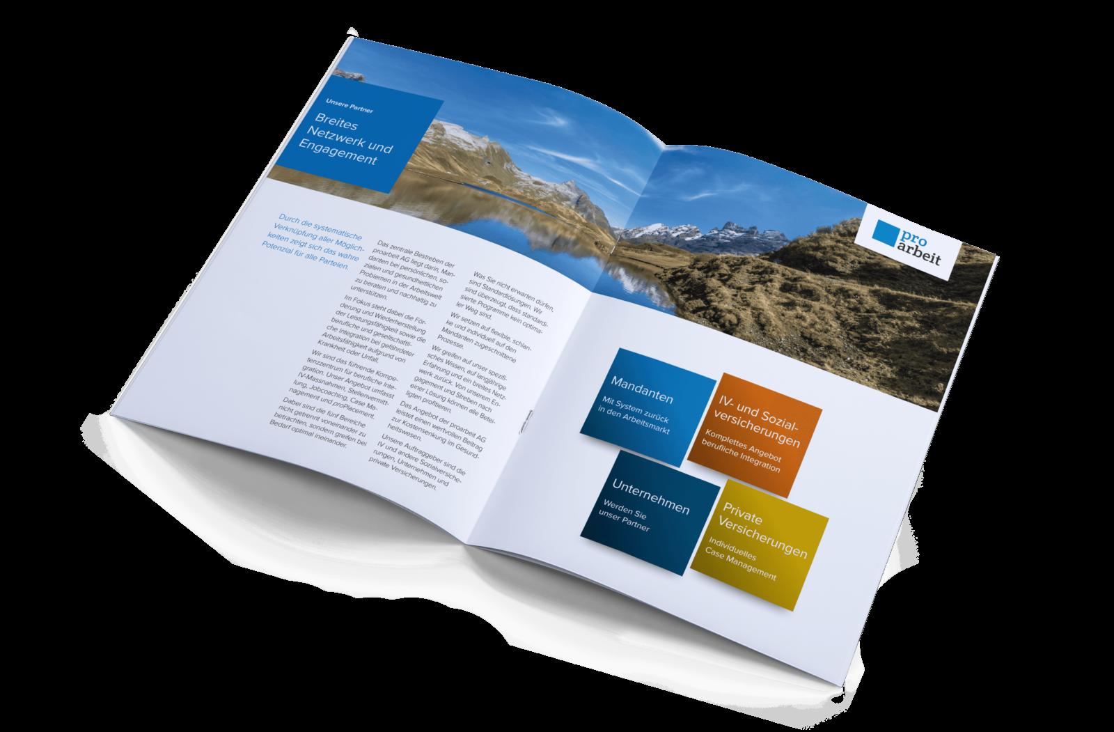 PRO ARBEIT AG –Broschürenkonzept und Umsetzung Imagebroschüre