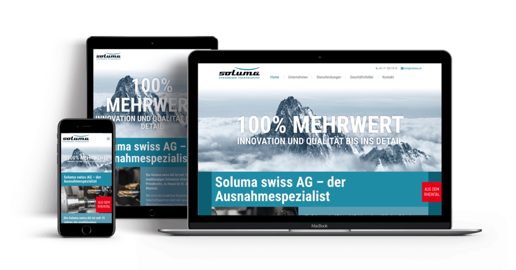 Redesign Webseite – Soluma swiss AG