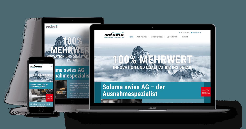 Redesign Webseite – Soluma swiss AG